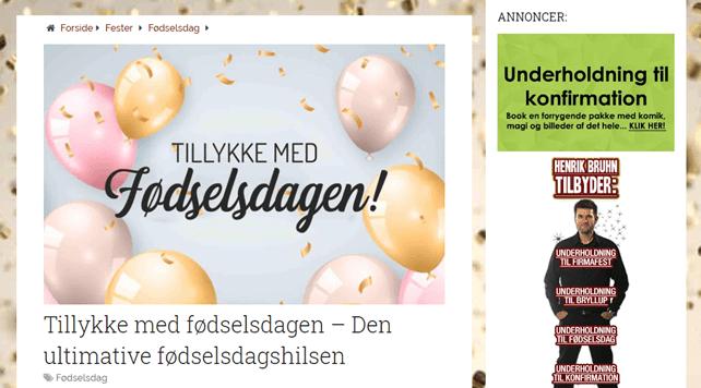Eksempel på indlæg hos Festlinjen.dk